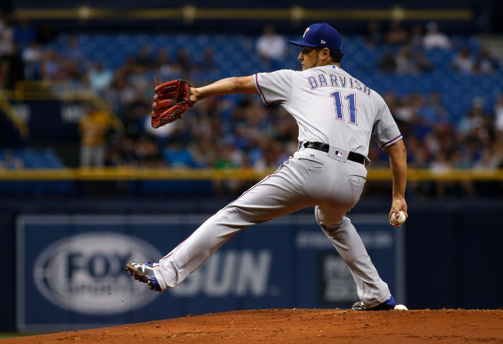 ST. PETERSBURG, FL - JULY 21: Yu Darvish #11 of the Texas Rangers pitches during the first inning of a game against the Tampa Bay Rays on July 21, 2017 at Tropicana Field in St. Petersburg, Florida. (Photo by Brian Blanco/Getty Images)