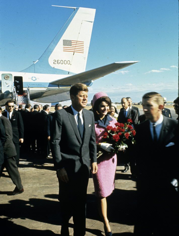 November 22, 1963 - President John F. Kennedy and Jacqueline Kennedy arrive at Dallas Love Field after flying in from Fort Worth.