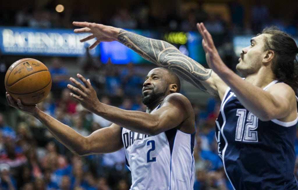 Dallas Mavericks guard Raymond Felton (2) goes up for a shot against Oklahoma City Thunder center Steven Adams (12) during the second quarter of game 4 of their series in the first round of NBA playoffs on Saturday, April 23, 2016 at the American Airlines Center in Dallas.  (Ashley Landis/The Dallas Morning News)