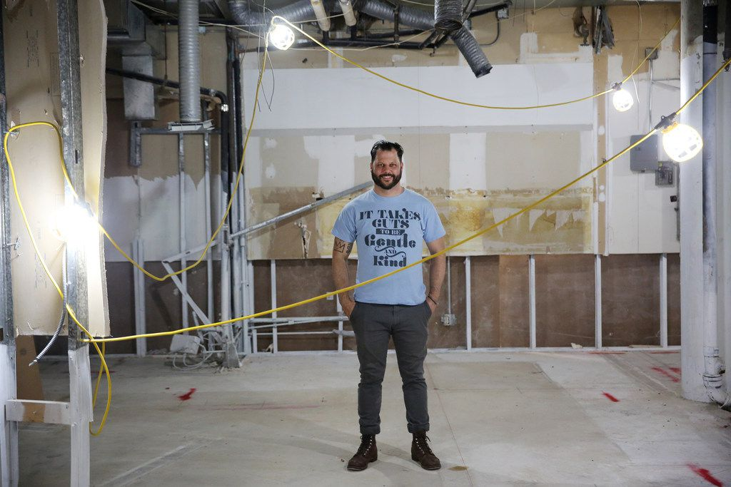 Chef Chad Houser, founder of Cafe Momentum, stands in the space of a planned community services center in the tunnels underneath the area at Thanks-Giving Square in downtown Dallas.