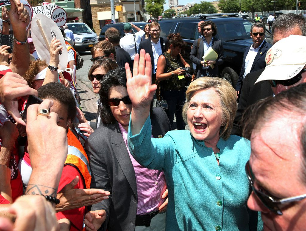 Democratic presidential candidate Hillary Clinton greets striking workers outside the Trump Taj Mahal Casino and Hotel in Atlantic City, N.J., in July.