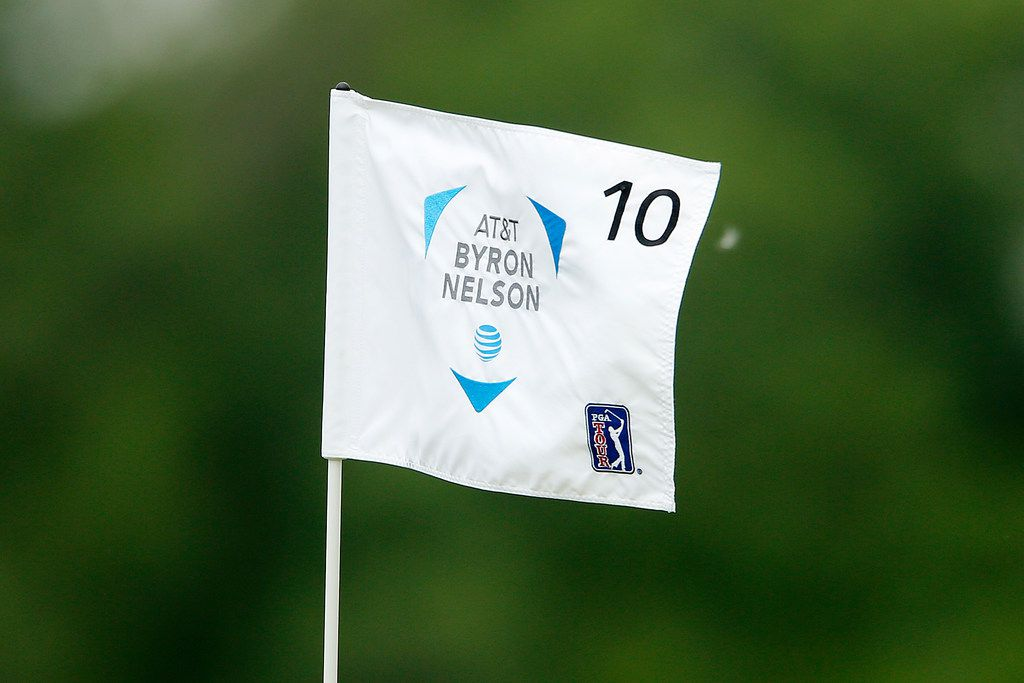 DALLAS, TEXAS - MAY 09: A detailed view of the flag on the 10th hole during the first round of the AT&T Byron Nelson at Trinity Forest Golf Club on May 09, 2019 in Dallas, Texas. (Photo by Michael Reaves/Getty Images)