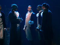 "Daveed Diggs (from left), Okieriete Onaodowan, Lin-Manuel Miranda, Leslie Odom Jr. and Anthony Ramos appear in the filmed version of the Broadway musical ""Hamilton,"" which premieres on Disney+ on Friday."