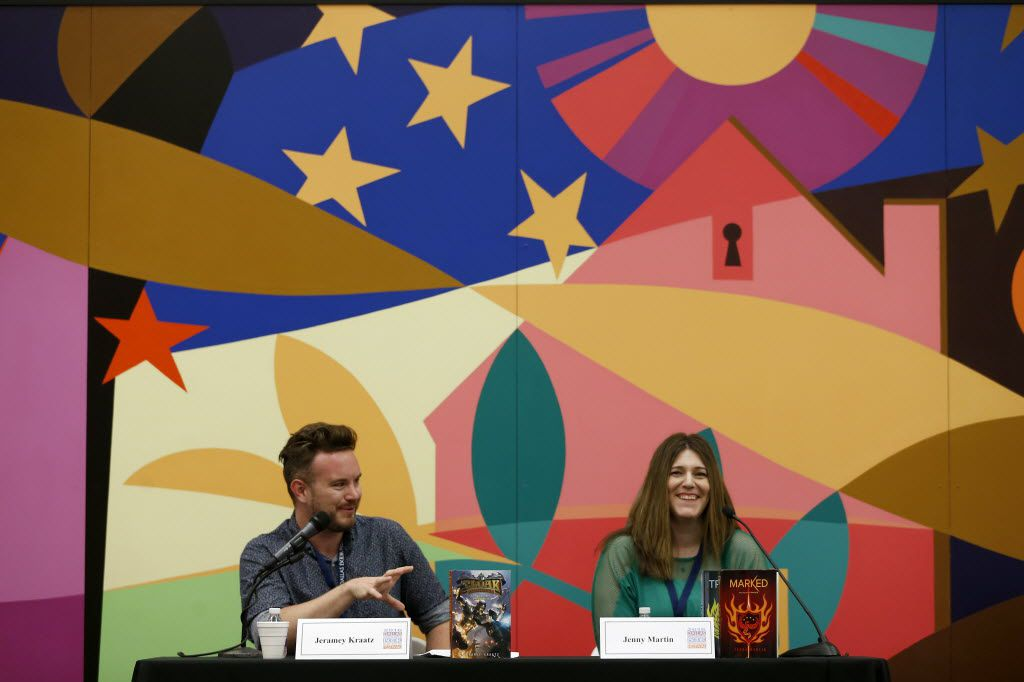 Authors Jeramey Kraatz (left) and Jenny Martin smile during the Young Adult Author Panel discussion at Dallas Book Festival at J. Erik Jonsson Central Library in Dallas, April 30, 2016. (Jae S. Lee/The Dallas Morning News)
