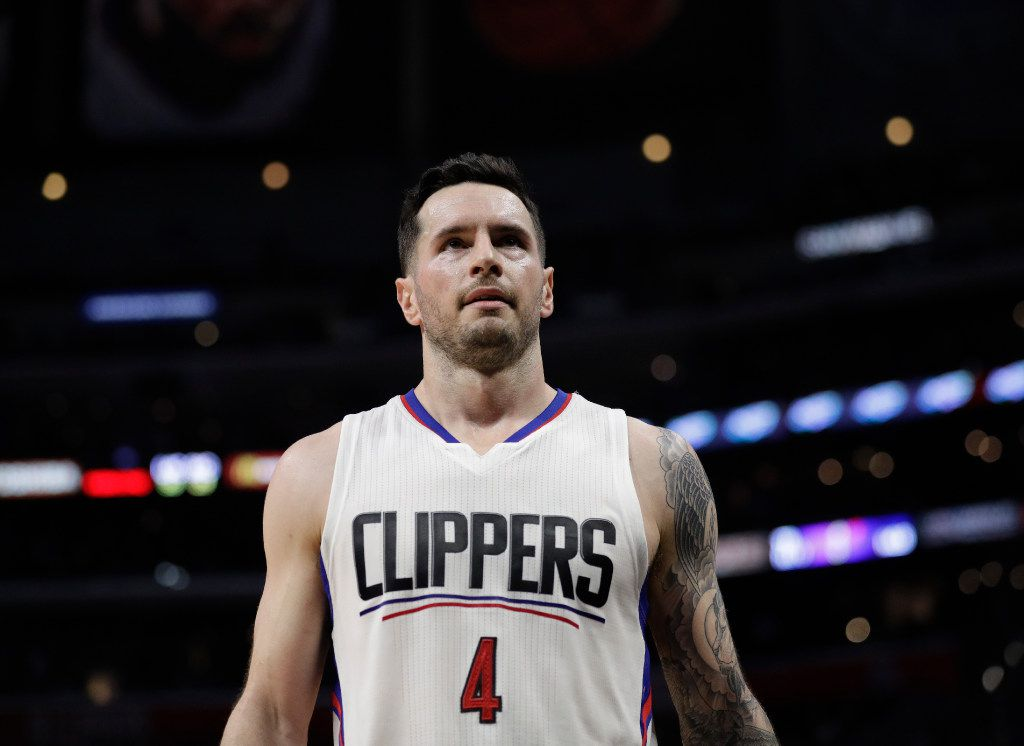 Los Angeles Clippers' JJ Redick look son during the second half of an NBA basketball game against the Sacramento Kings Wednesday, April 12, 2017, in Los Angeles. (AP Photo/Jae C. Hong)