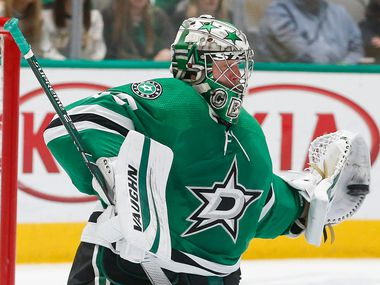 Dallas Stars goaltender Anton Khudobin (35) makes a save during the second period of an NHL matchup between the Dallas Stars and the Chicago Blackhawks on Sunday, Feb. 23, 2020 at American Airlines Center in Dallas.
