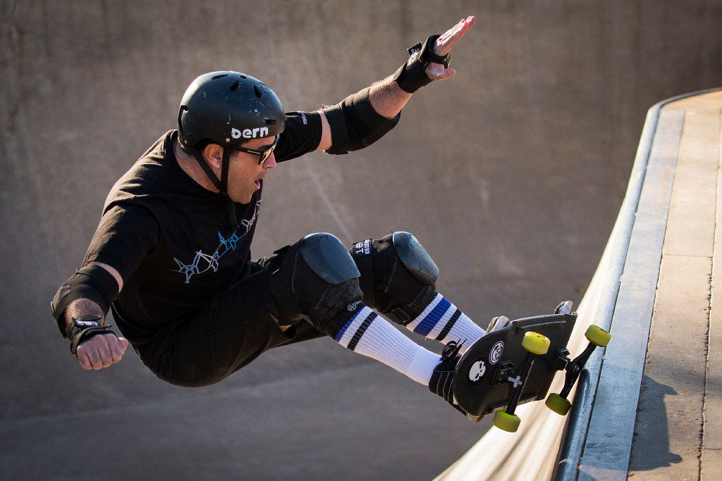 Richard Iniguez rides his skateboard at Lively Pointe Skate Park on Sunday, Jan. 22, 2017, in Irving. (Smiley N. Pool/The Dallas Morning News)