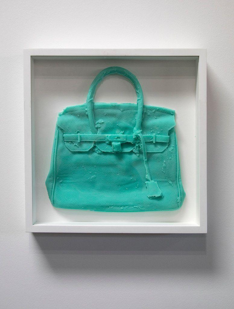 """Shelter Serra """"Homemade Hermes Birkin Bag (Aqua),"""" cast silicone (unique) 18.75.x18.75 in. (framed)"""
