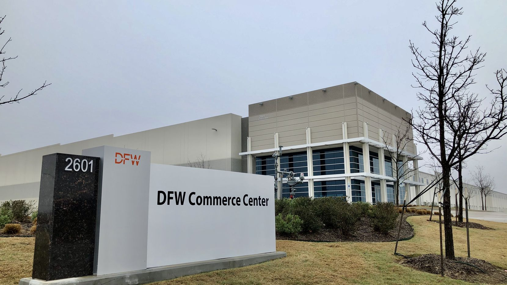 The DFW Commerce Center building is near the south end of DFW Airport.