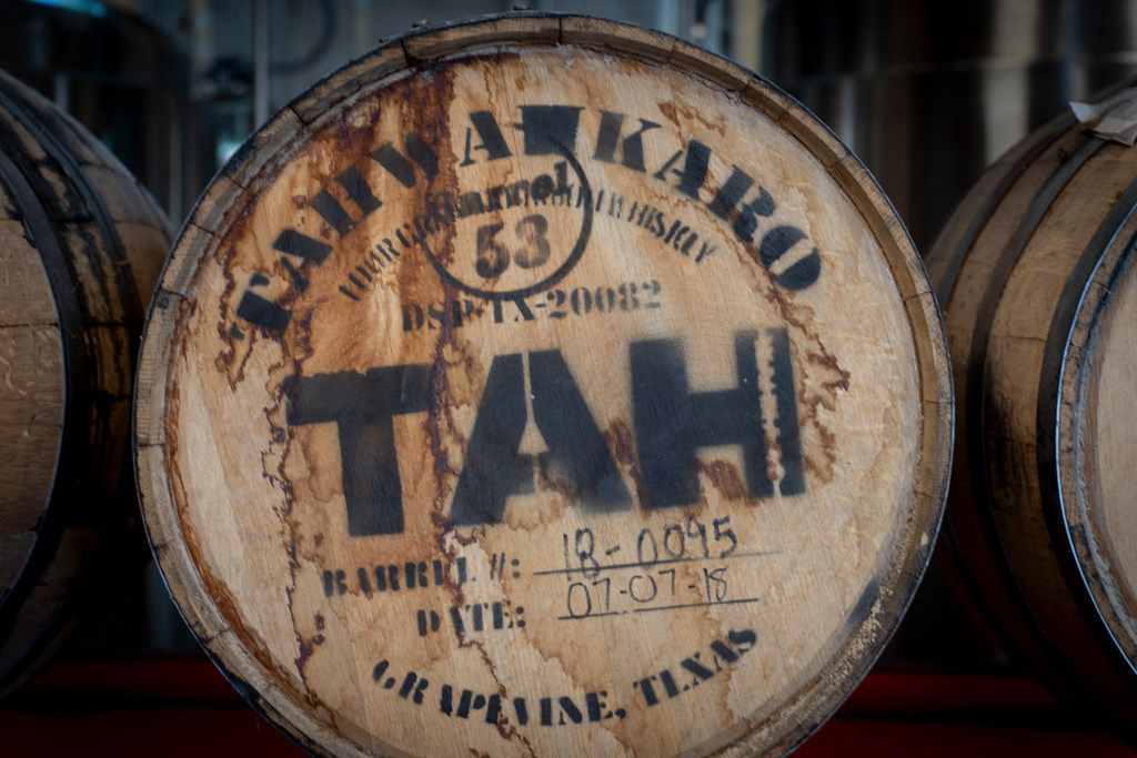 Barrel number 53 of Tahwahkaro four-grain bourbon whiskey at the company's distillery in Grapevine, Texas on June 7, 2019.
