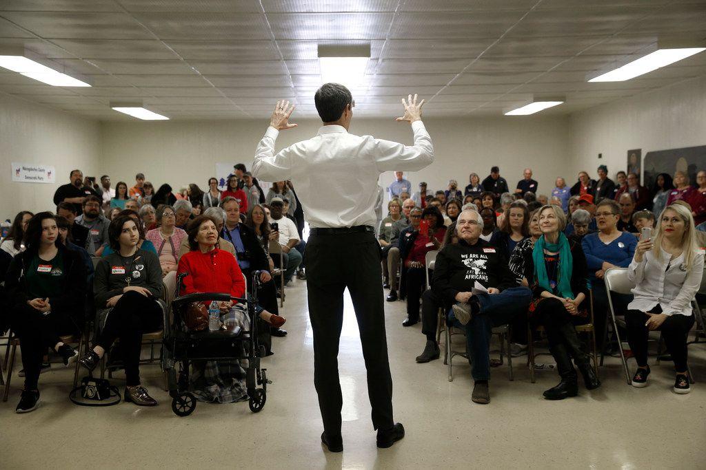 U.S. congressman Beto O'Rourke gives a speech at Brandon Community Center in Lufkin on Feb. 9, 2018. O'Rourke is running for Ted Cruz's U.S. Senate seat.