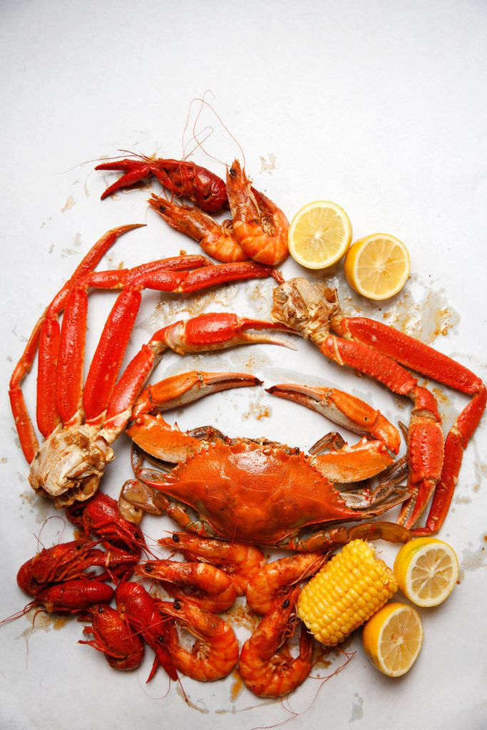 A blue crab, snow crab legs, crawfish and shrimp from The Boiling Crab.