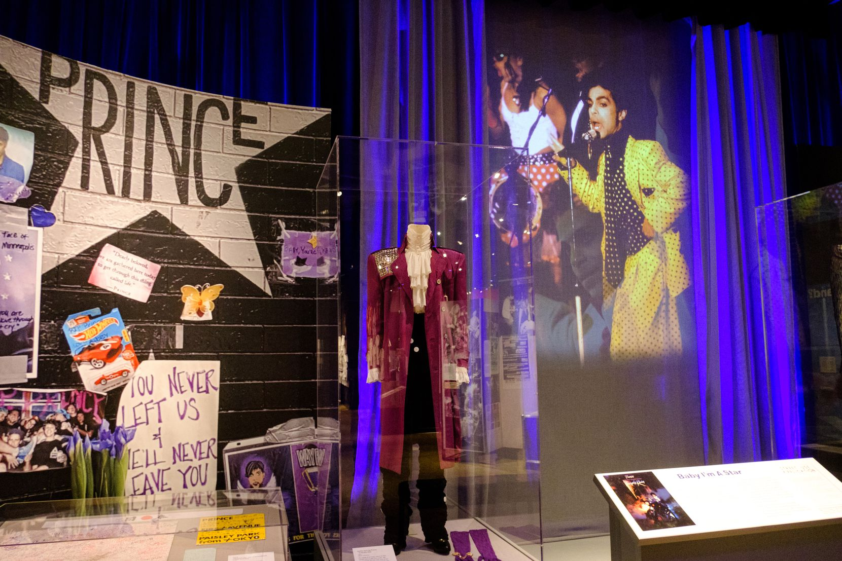 """Prince's iconic suit from """"Purple Rain"""" is on display at the Minnesota History Center through May 3, 2020."""