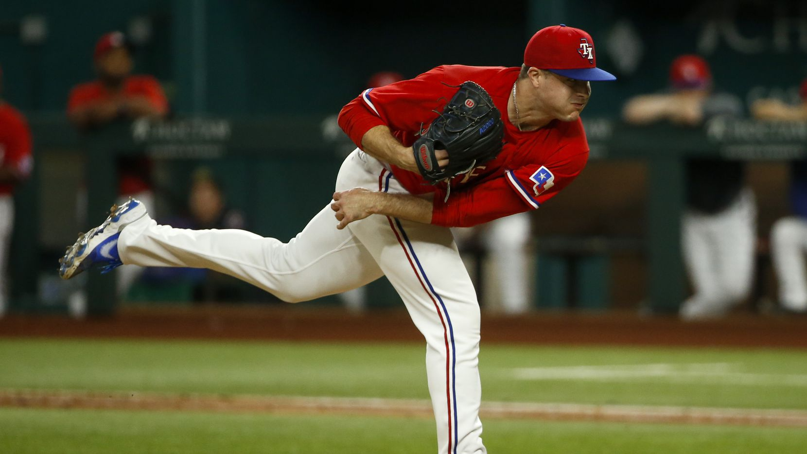 Texas Rangers relief pitcher John King (60) throws the ball during the eighth inning against the Kansas City Royals at Globe Life Field on Friday, June 25, 2021, in Arlington.