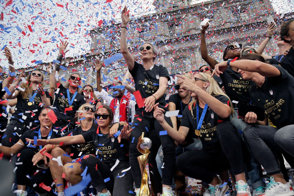 The U.S. women's soccer team, with Megan Rapinoe at center, celebrates after a ticker tape parade,  July 10, 2019, in New York. The U.S. national team beat the Netherlands 2-0 to capture a record fourth Women's World Cup title. (AP Photo/Seth Wenig)