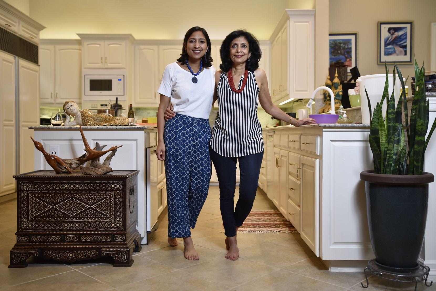 Food writer and Dallas native Priya Krishna, left, and her mother, Ritu Krishna, at Priya's family home in Dallas