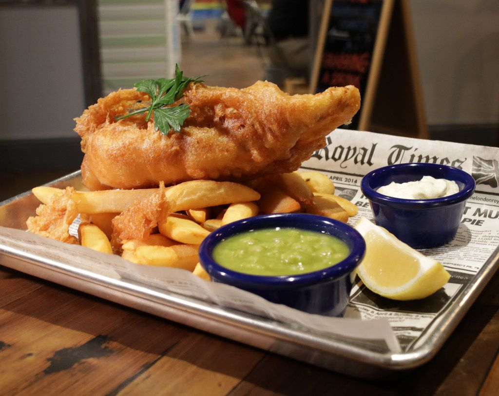 The House Special Fish and Chips with a side order of mushy peas at Fish and Fizz in Richardson