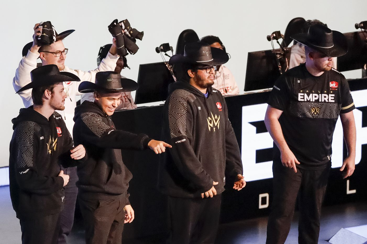 The Dallas Empire team is introduced before a match against the Los Angeles Thieves during the Call of Duty League Major V tournament at Esports Stadium Arlington on Saturday, July 31, 2021, in Arlington. (Elias Valverde II/The Dallas Morning News)