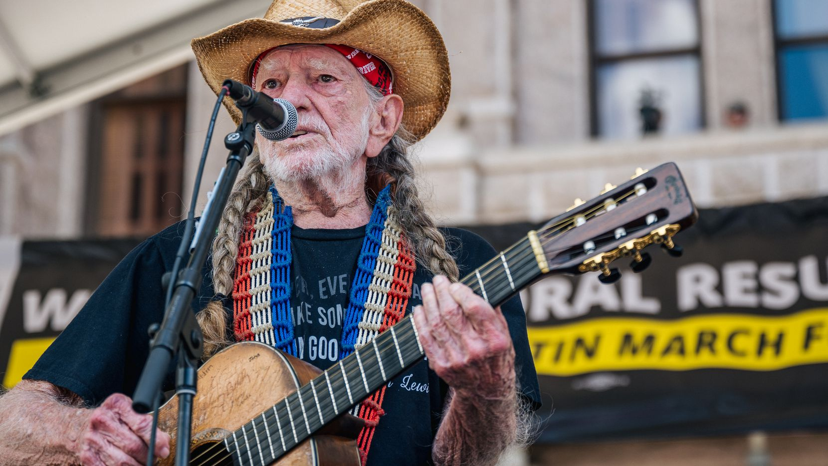 AUSTIN, TEXAS - JULY 31: American musician Willie Nelson performs during the Georgetown to Austin March for Democracy rally on July 31, 2021 in Austin, Texas. Texas activists and demonstrators rallied at the Texas state Capitol after completing a 27-mile long march, from Georgetown to Austin, demanding federal action on voting rights legislation. (Photo by Brandon Bell/Getty Images)