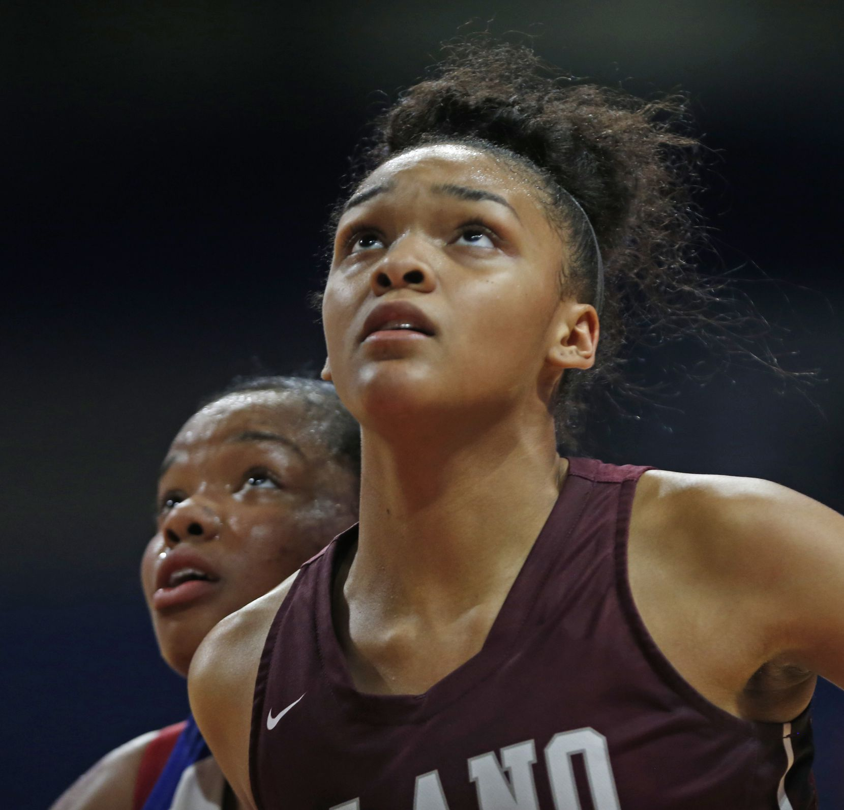 Plano Jordyn Merritt positions herself for a rebound. Plano v Cypress Creek in a UIL girls basketball Class 6A on Friday, March 2, 2018 at the Alamodome.  (Ronald Cortes/Special Contributor)