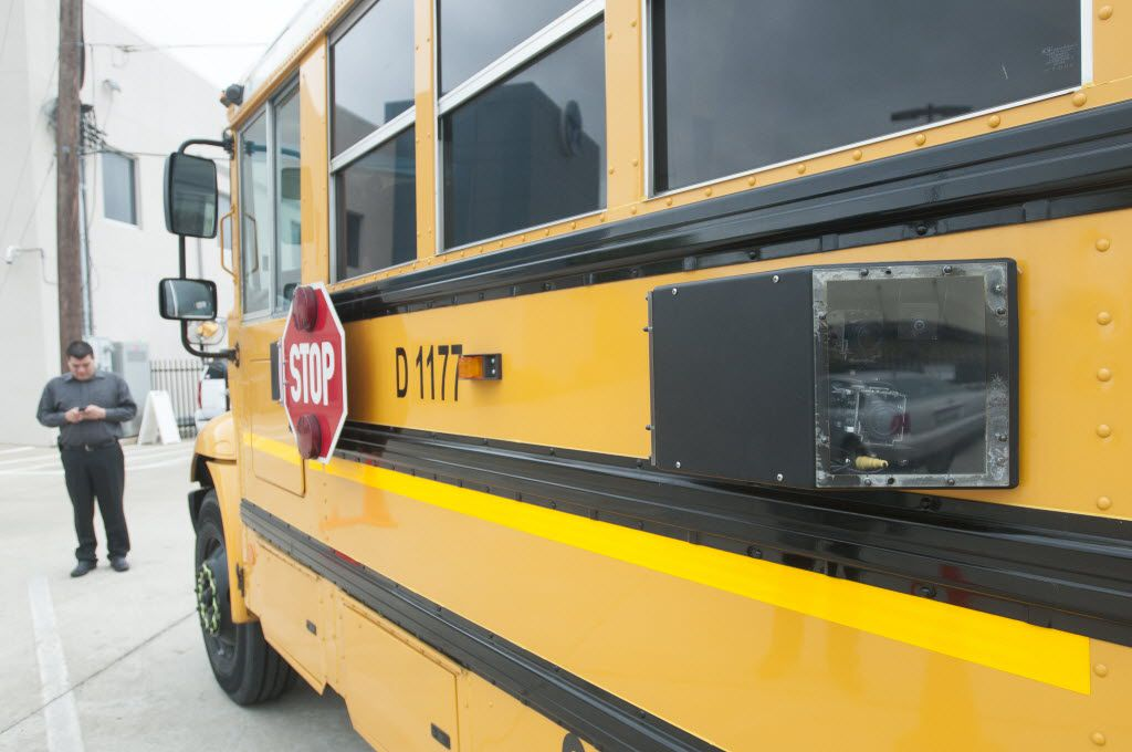 Dallas County Schools introduced Force Multiplier Solutions' BusGuard System in April 2014 at its headquarters in Dallas.  This bus was equipped with eight cameras on the outside and three inside, including the stop-arm cameras, and a thumbprint scanner.
