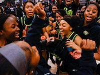 DeSoto celebrates their win against Duncanville following a girls basketball Class 6A Region II UIL game in Waxahachie on Tuesday, March 2, 2021. DeSoto won 52-39.
