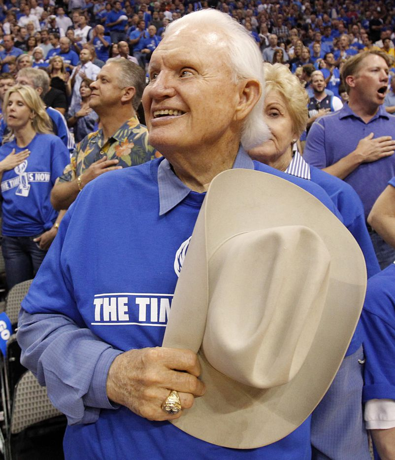 Former Dallas Mavericks owner Don Carter was all smiles as the National Anthem was played before Game 4 of the NBA Western Conference Semifinals against the Los Angeles Lakers at American Airlines Center in Dallas, Texas, on May 8, 2011.  Carter was the owner when the Mavericks played the Lakers in the Western Conference Finals in 1988 at Reunion Arena.