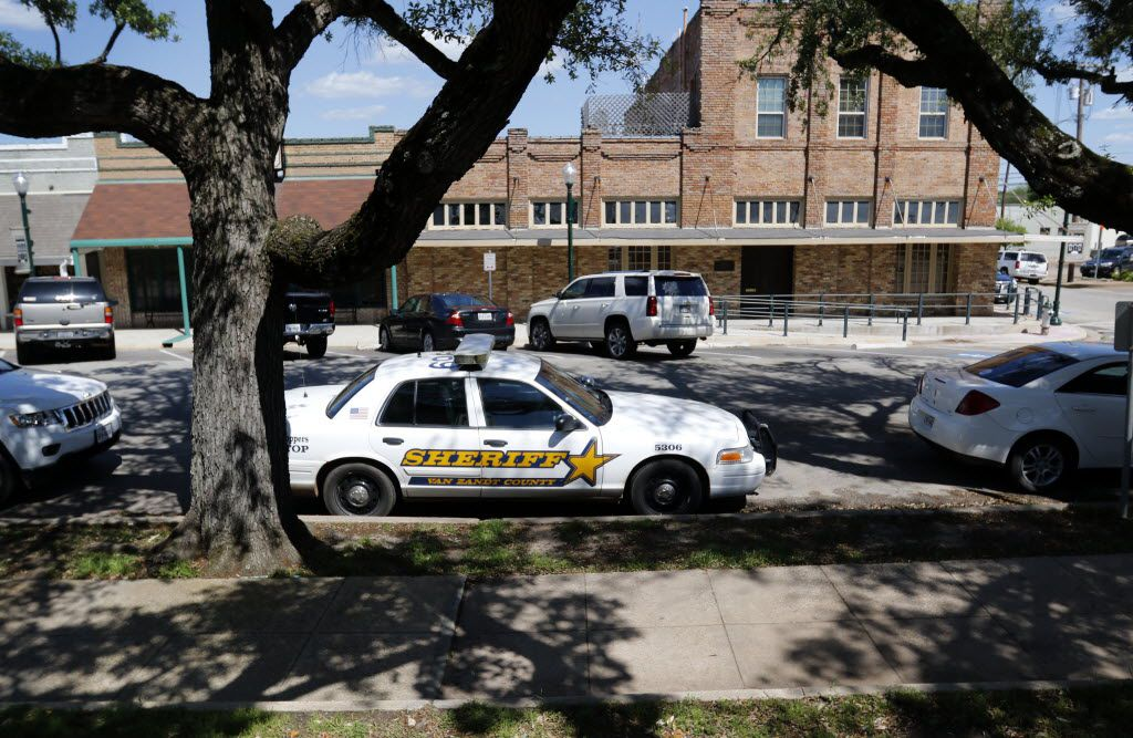 A Van Zandt County sheriff's vehicle sits outside the Van Zandt County municipal building in Canton, Texas on April 29, 2015.