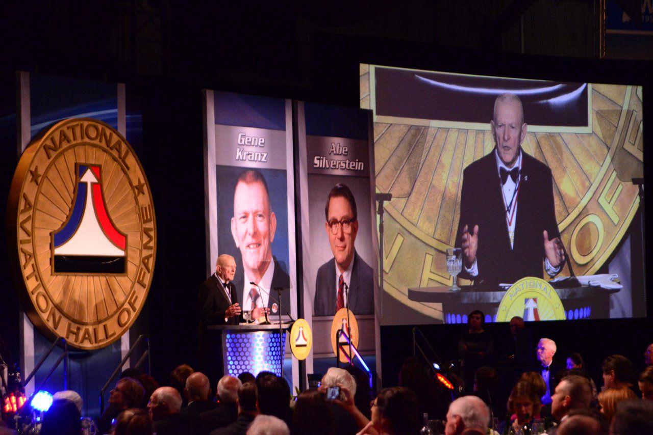 """Former NASA flight director Eugene """"Gene"""" Kranz gave his acceptance speech after being inducted into the National Aviation Hall of Fame in October 2015. (Ron Kaplan/National Aviation Hall of Fame)"""
