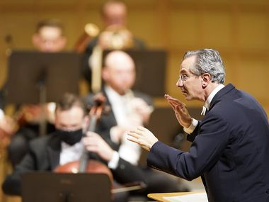Music director Fabio Luisi conducts during the season-opening Dallas Symphony concert at the Meyerson Symphony Center on Thursday, Sept. 10, 2020, in Dallas.