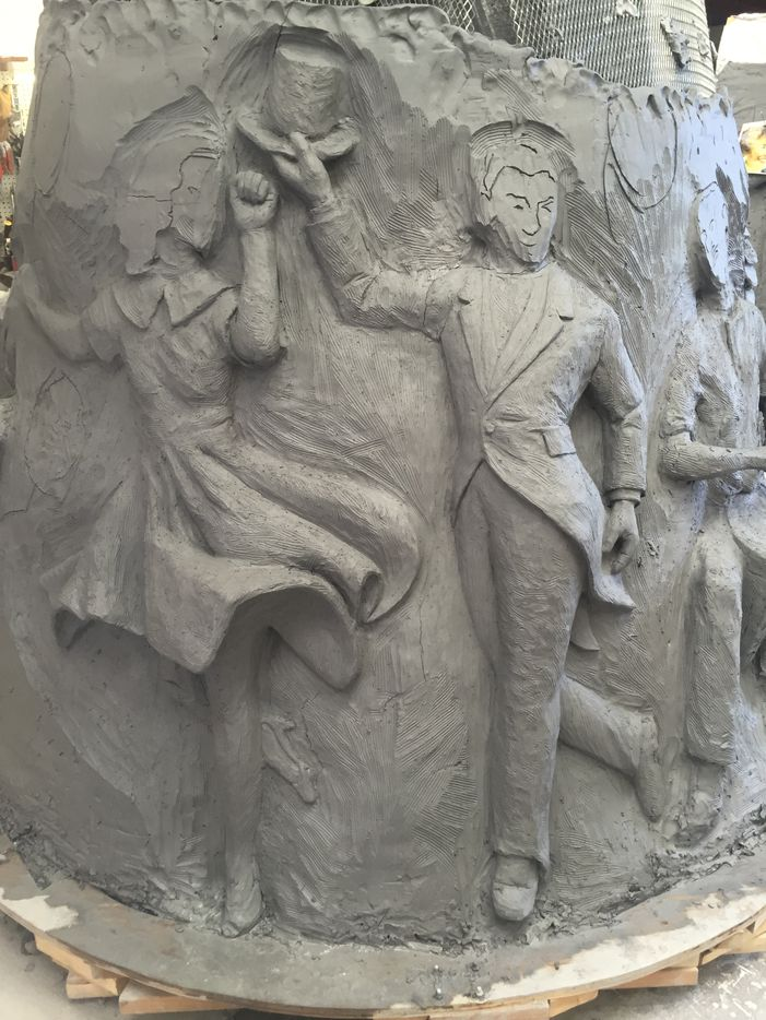 Individual features are formed among 5,000 pounds of clay currently being worked at the artist's studio in East Oak Cliff.