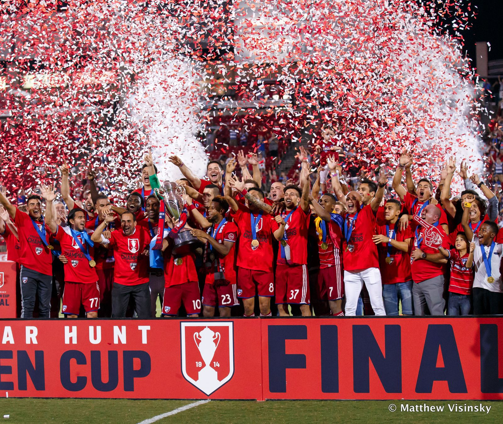 FC Dallas celebrates winning the 2016 Lamar Hunt US Open Cup, the club's first title in 19 seasons.