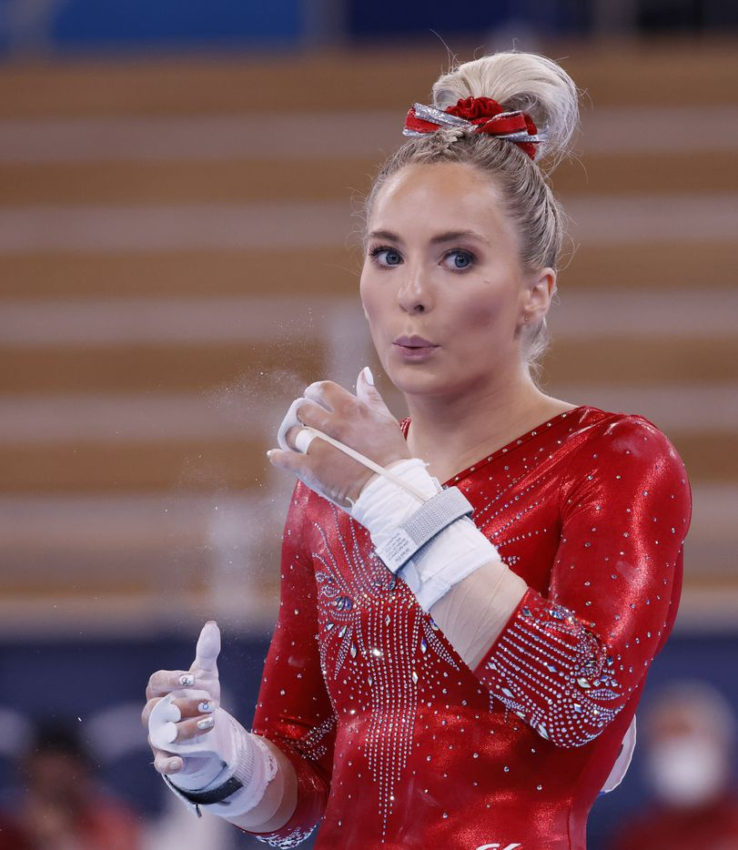 USA's MyKayla Skinner blows excess chalk off her hands in a women's gymnastics event during the postponed 2020 Tokyo Olympics at Ariake Gymnastics Centre on Sunday, July 25, 2021, in Tokyo, Japan. (Vernon Bryant/The Dallas Morning News)