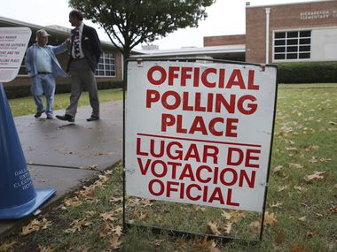 A sign marks a voting location at Richardson Heights Elementary School in 2013.