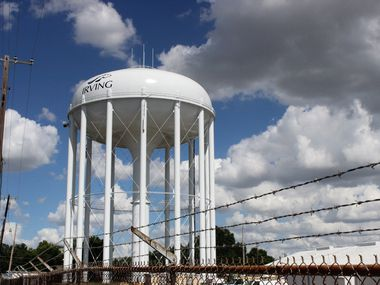 The City of Irving's water tower.