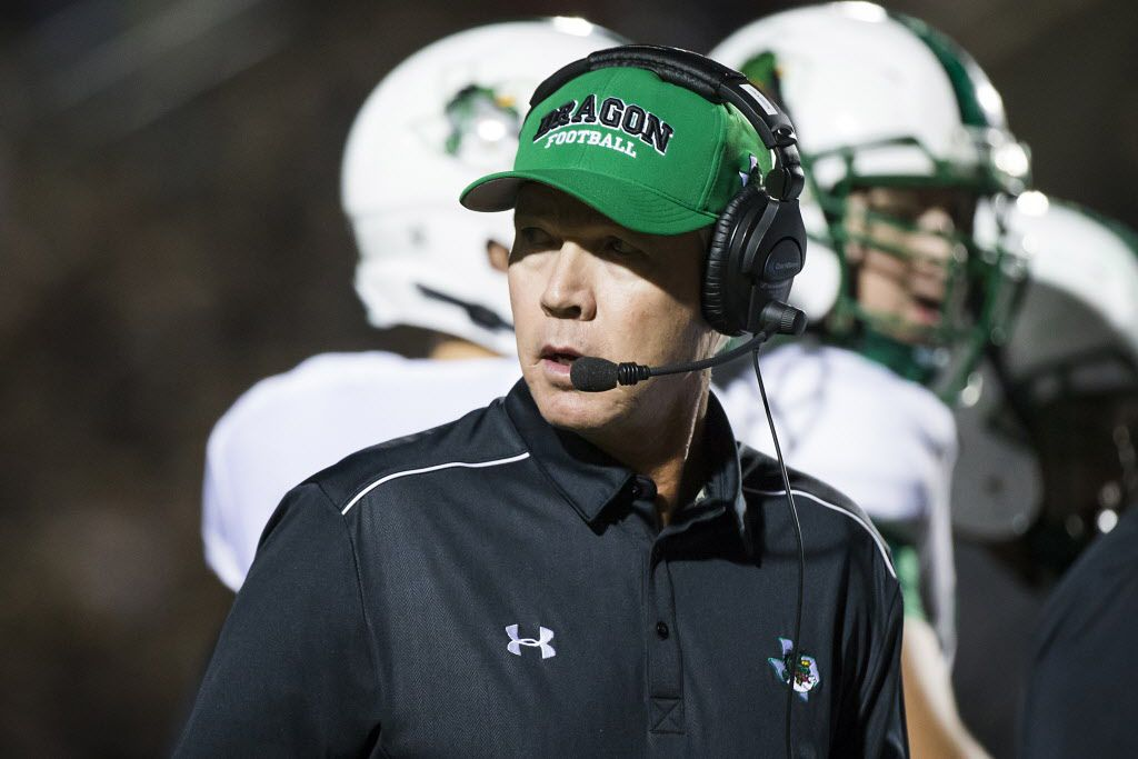 Southlake Carroll head coach Hal Wasson looks back toward the bench during a time out in the first quarter of a high school football game against Coppell at Buddy Echols Field on Friday, Oct. 2, 2015, in Coppell. (Smiley N. Pool/The Dallas Morning News)