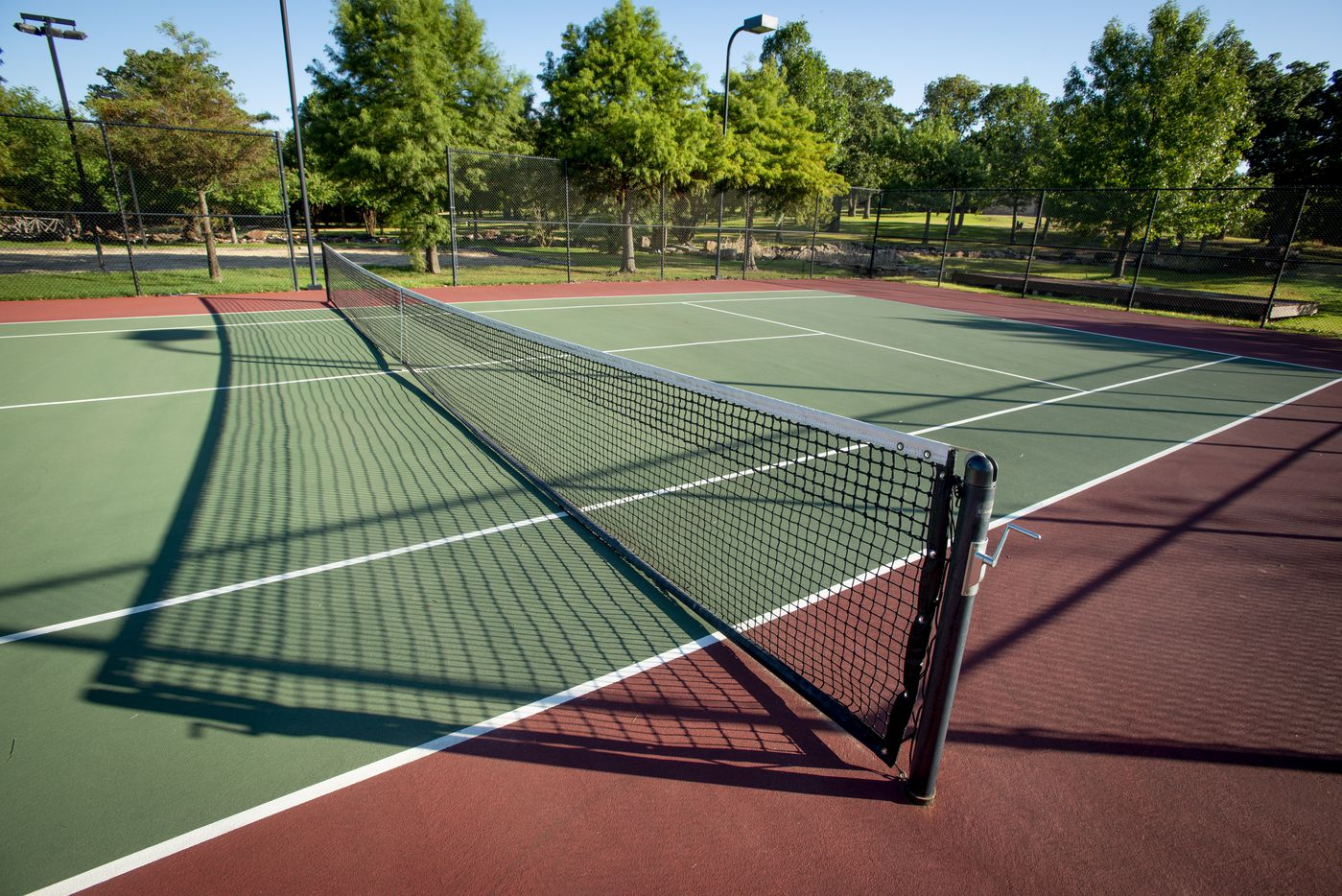 Tennis court at 5101 Kensington Ct., in Flower Mound, Texas on August 19, 2020. (Robert W. Hart/Special Contributor)