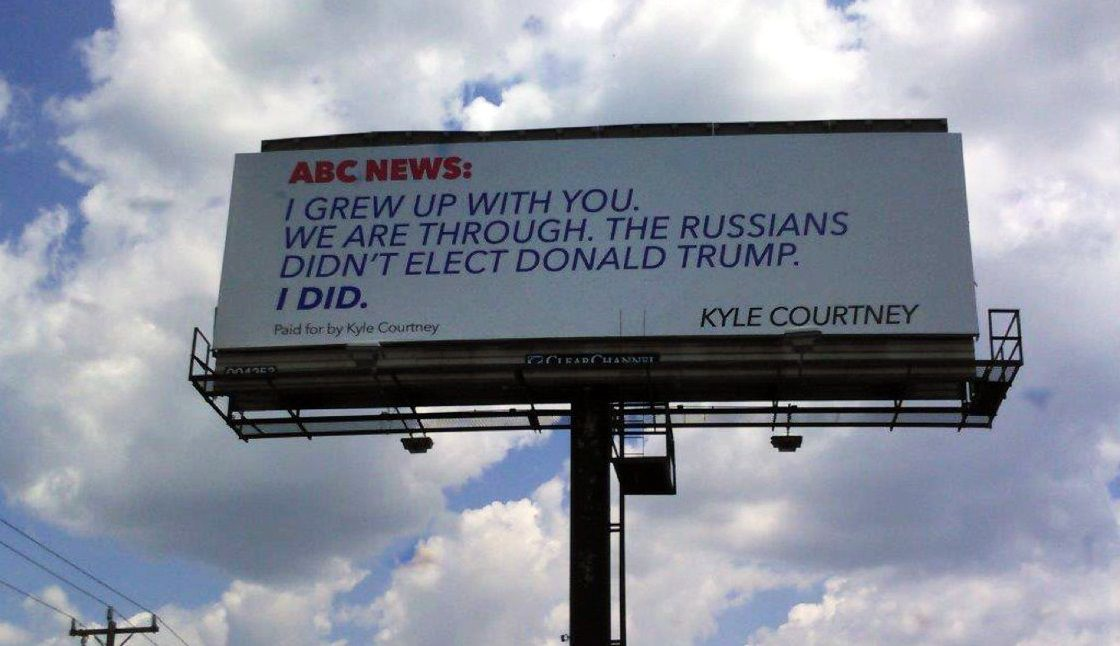 """Kyle Courtney's billboard message to ABC News went up Tuesday on Interstate 10 in southern Boerne, about 30 miles outside San Antonio. Courtney said in a statement that the television network """"has lost touch with America and forgotten the working man."""""""
