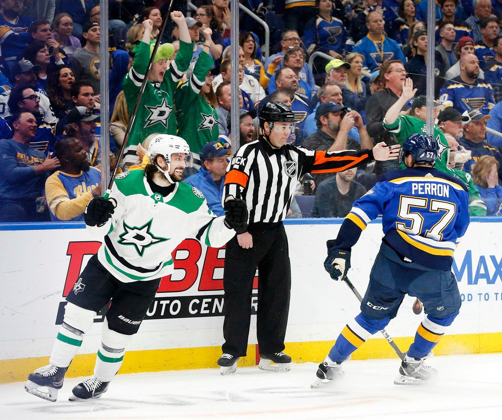 Dallas Stars center Mats Zuccarello (36) celebrates his first period goal against St. Louis Blues left wing David Perron (57) at the Enterprise Center in St. Louis, Tuesday, May 7, 2019. The teams were playing in the Western Conference Second Round Game 7 of the 2019 NHL Stanley Cup Playoffs. (Tom Fox/The Dallas Morning News)