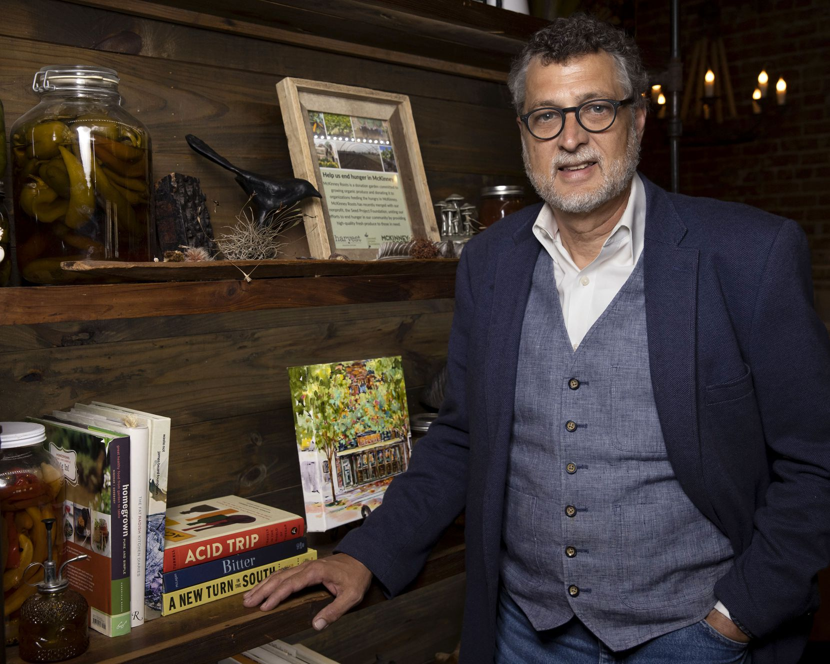 Owner Rick Wells poses for a portrait at Harvest farm-to-table restaurant in Historic Downtown McKinney.