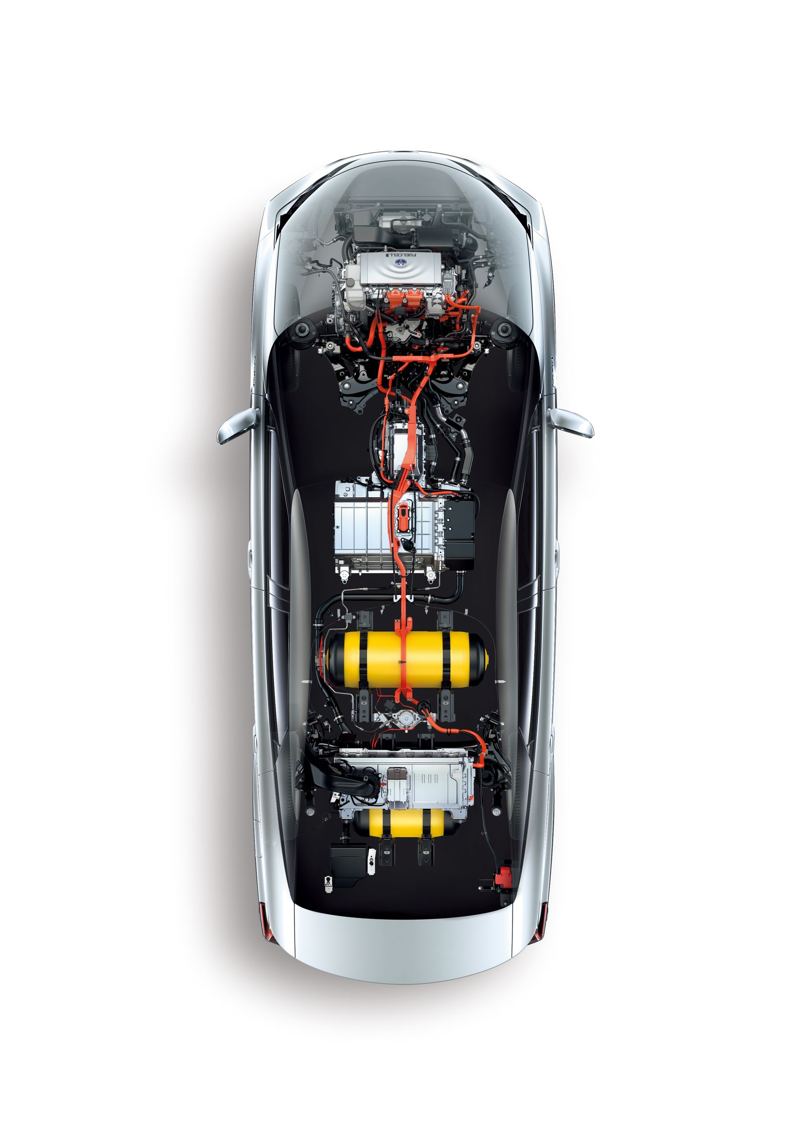 An overhead of the fuel cell system in a Mirai.