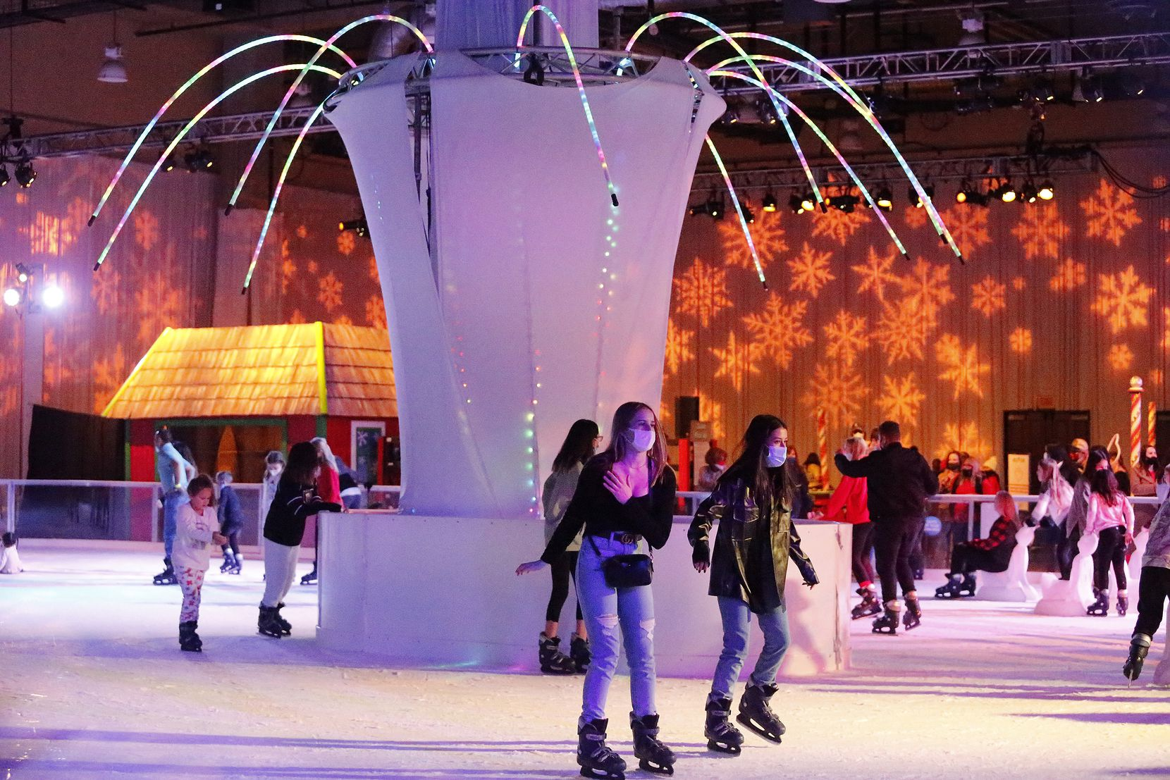 The skating rink moved indoors at 2020's holiday celebration at the Gaylord Texan in Grapevine.
