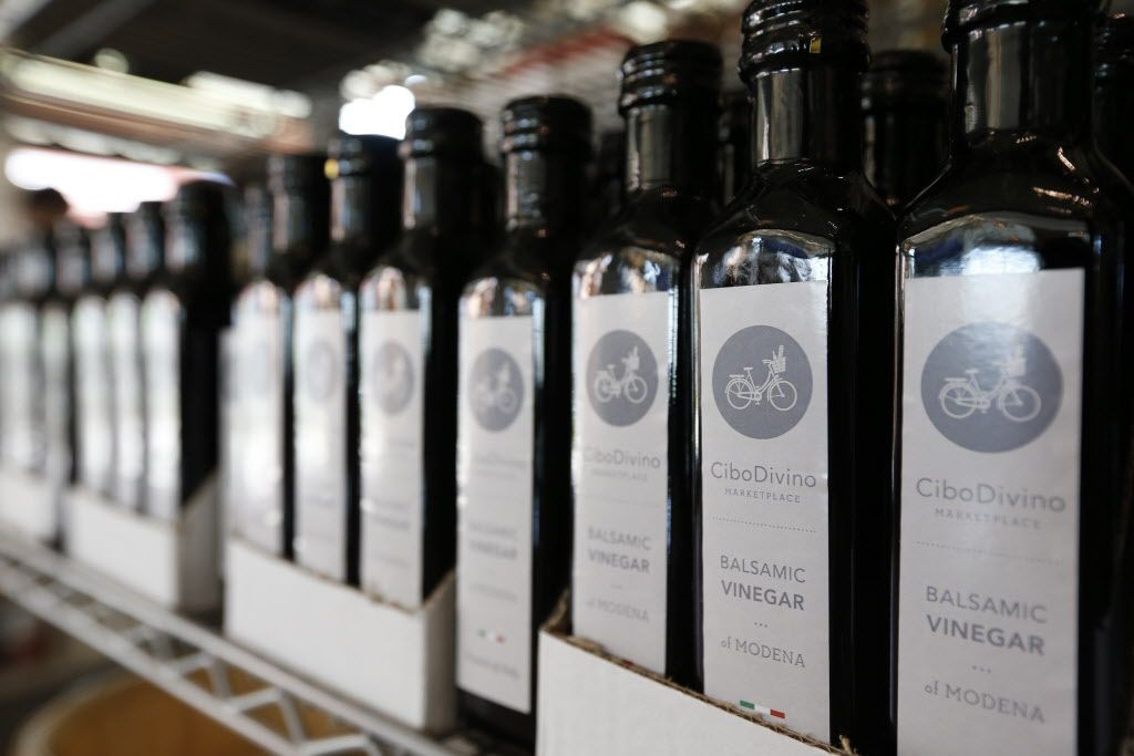 Private label balsamic vinegars at Cibo Divino, Friday, May 1, 2015. (Brandon Wade/Special Contributor)
