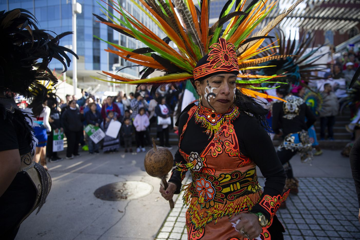 Members of Danza Guerreros Chichimecas Tonantzin performs at the Cathedral Santuario de la Virgen de Guadalupe before marching to the Earle Cabell Federal Courthouse during the North Texas March for Life on Saturday, Jan. 18, 2020.