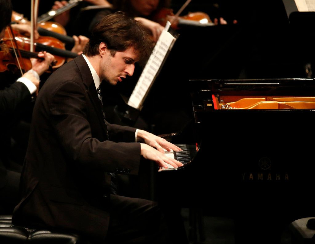 Pianist Kenneth Broberg performs Franz Liszt's Totentanz with the Dallas Chamber Symphony during a concert at City Performance Hall in Dallas on Tuesday, April 18, 2017. (Rose Baca/The Dallas Morning News)