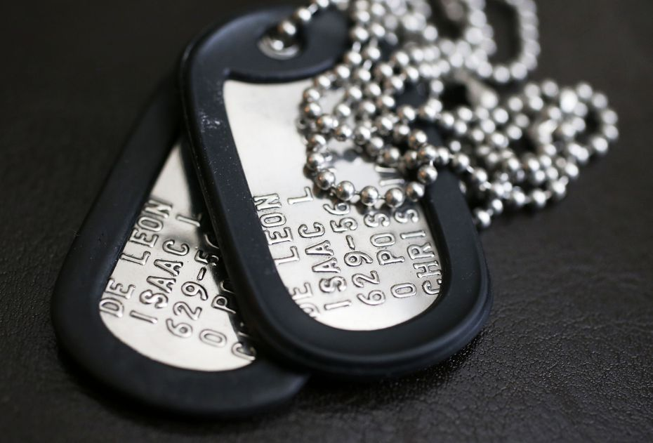 The dogtags of Pfc. Isaac L. DeLeon, who died in a flooding accident during a training exercise at Fort Hood.
