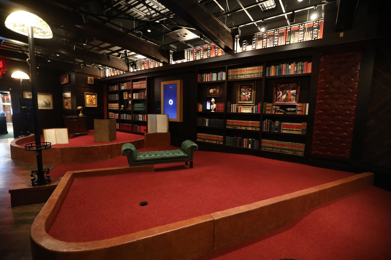 A hole in the Library room at Puttery, a new indoor mini golf and entertainment concept in The Colony. (Anja Schlein/Special Contributor)