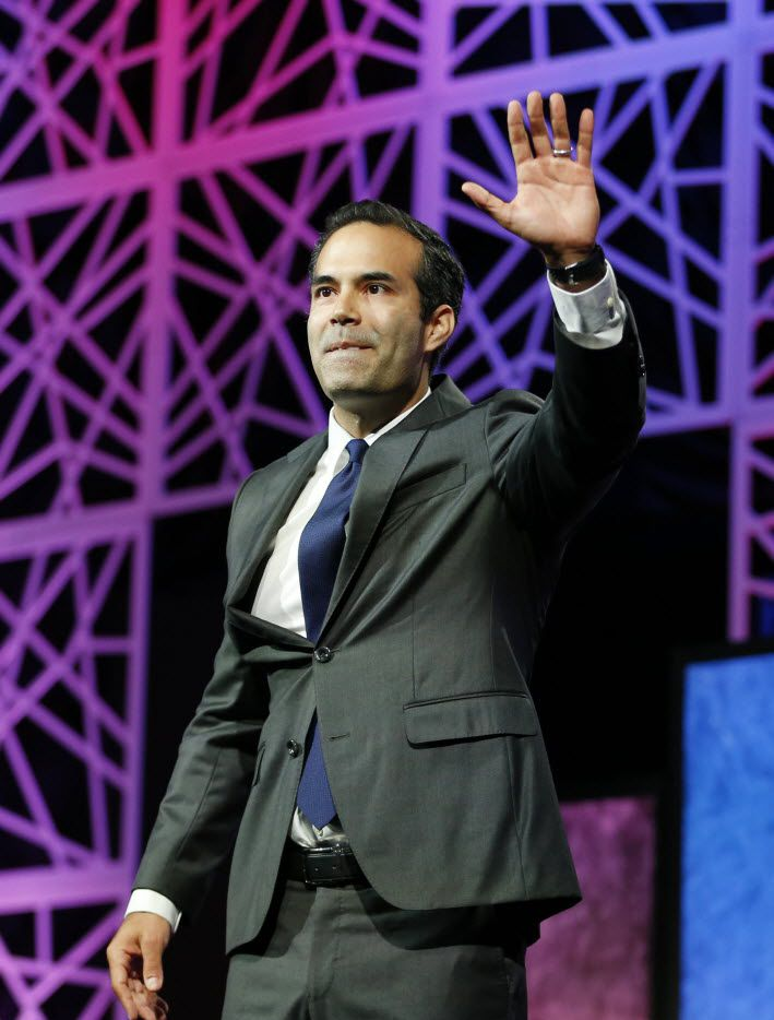 Texas Land Commissioner George P. Bush waves to the crowd during the 2016 Texas Republican Convention at the Kay Bailey Hutchison Convention Center in Dallas, on Thursday, May 12, 2016.