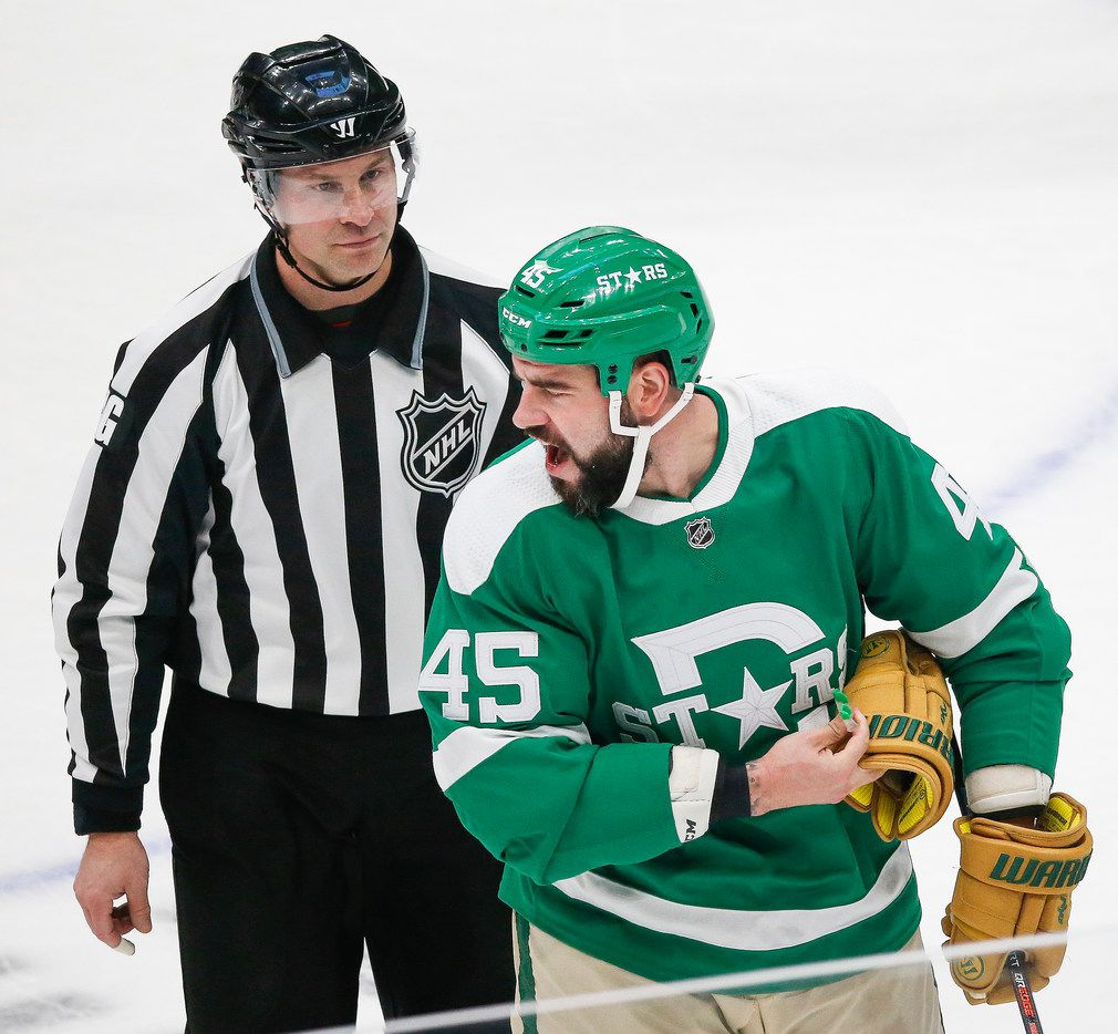 Dallas Stars defenseman Roman Polak (45) is sent to the penalty box during the first period of an NHL matchup between the Dallas Stars and the St. Louis Blues on Friday, Feb. 21, 2020 at American Airlines Center in Dallas.