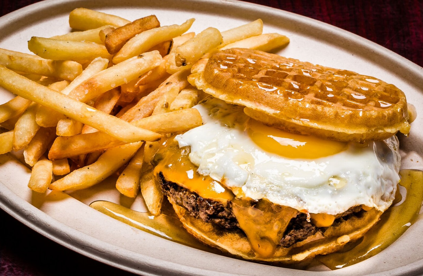 That's a waffle burger from Texas Tapas.